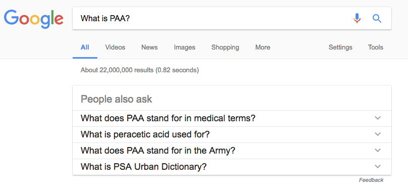 Screenshot of Google search results for the query what is paa