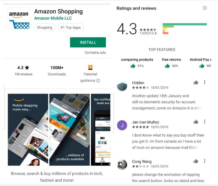 Amazon app on Google Play