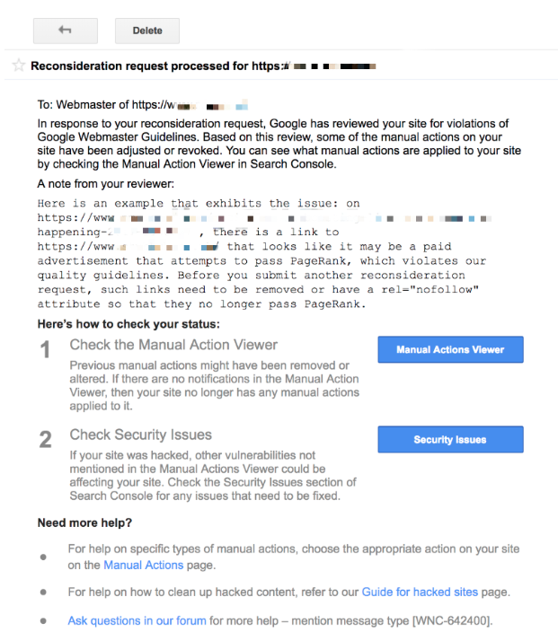Reconsideration request response