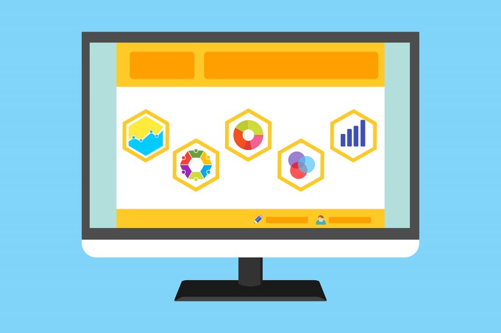 PC screen with symbols