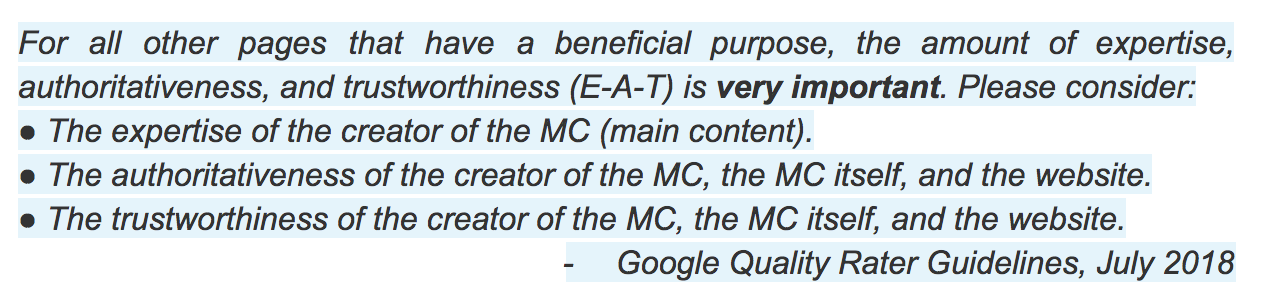 EAT quote Google Quality Guidelines