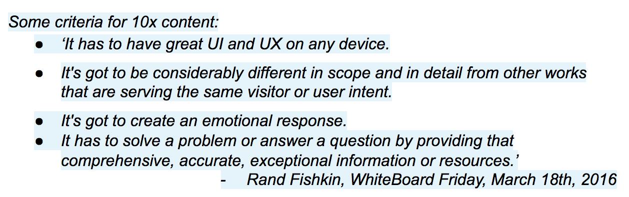 10x content quote Rand Fishkin