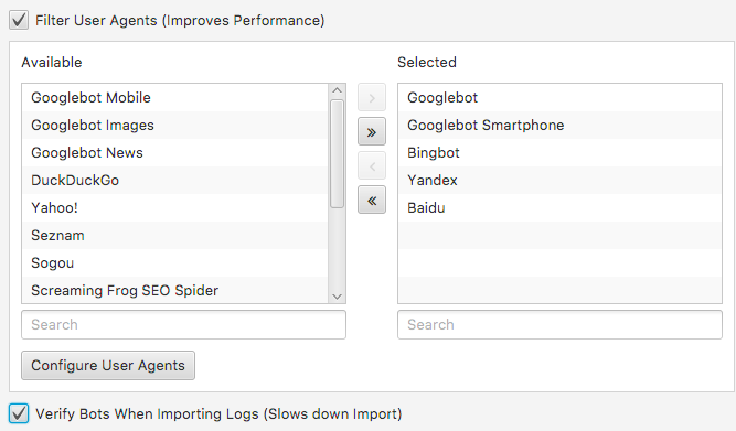 Bot selector in log file analyser tool