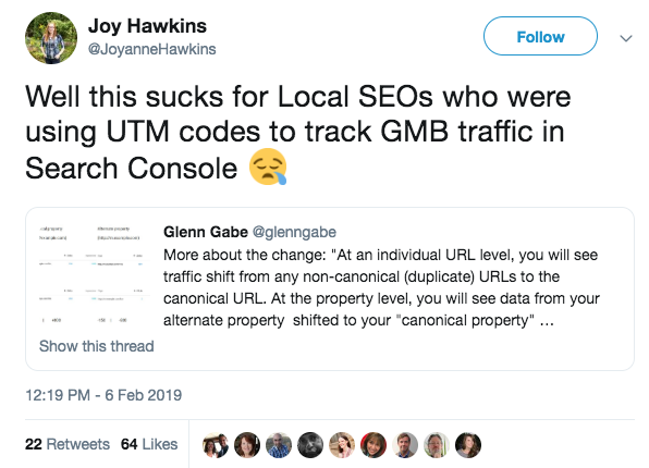 Twitter response to canonical GSC changes