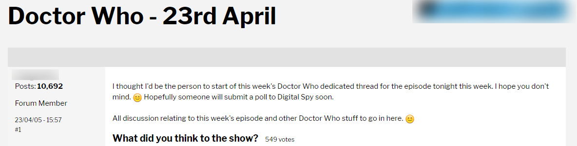 Old Doctor Who forum thread