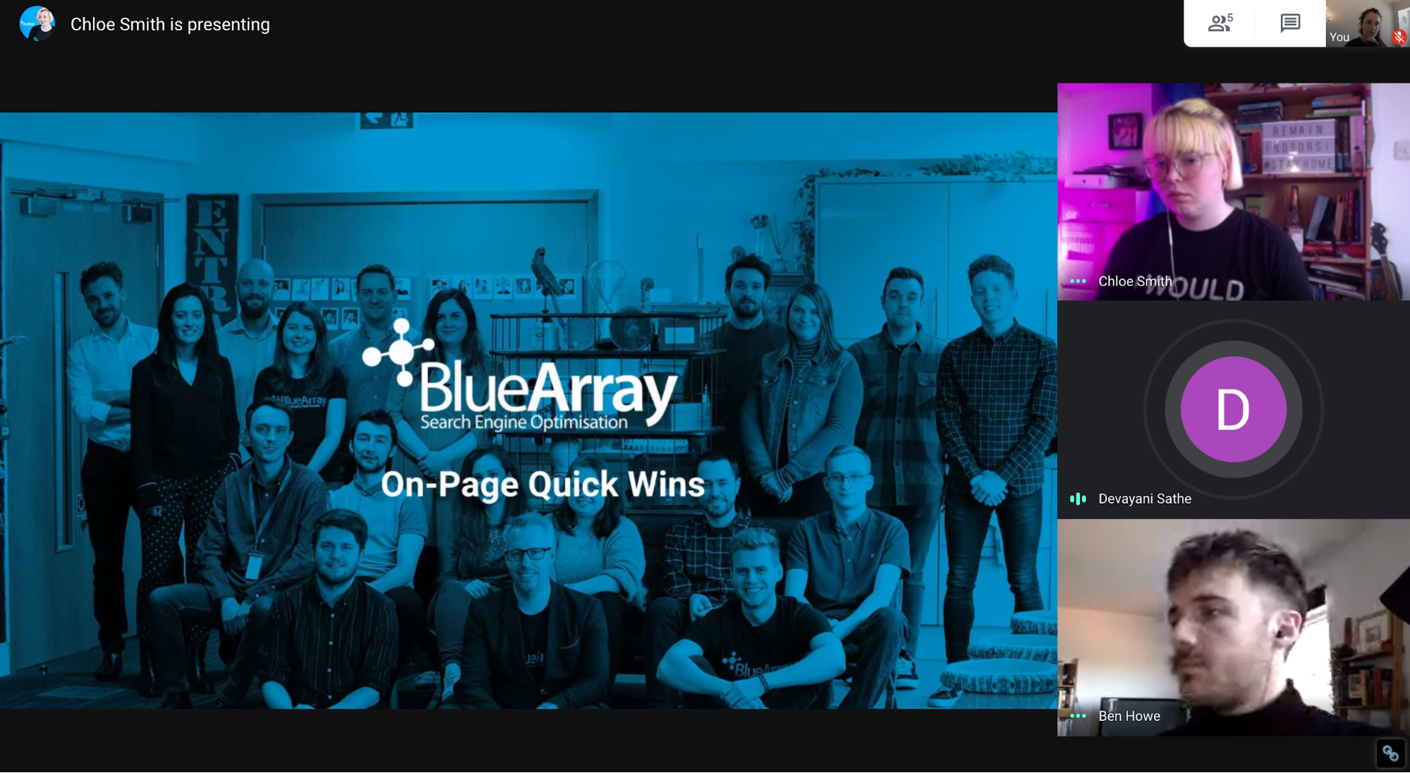 Blue Array team hangout meeting with a client