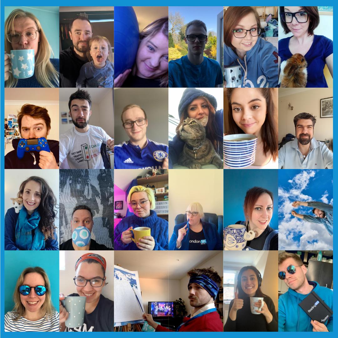 Blue Array team wear something blue for social media