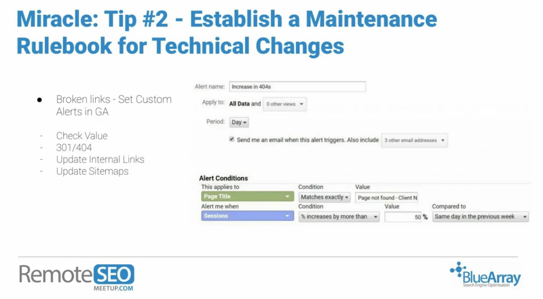 Establish a maintenance rulebook tip RemoteSEO Meetup